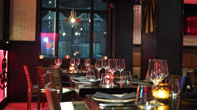 interior of a romantic setting of a restaurant for perfect date night in Calgary