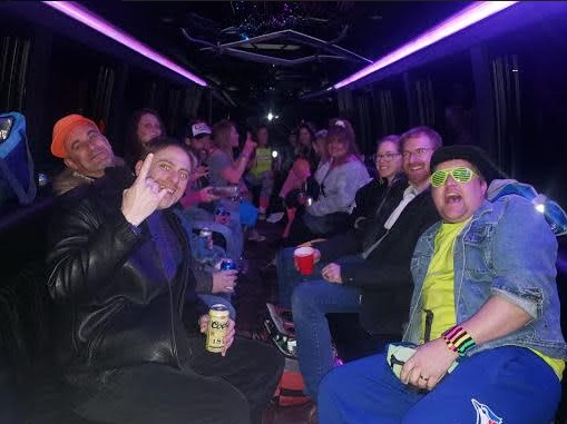 Drinking on a Party Bus