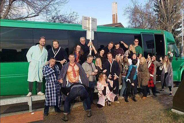 PJ party photo in front of party bus