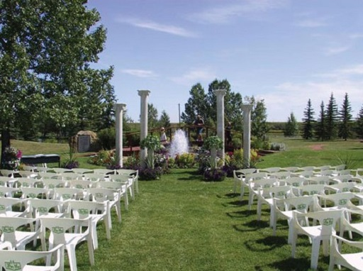 Outdoor wedding in gardens at Spruce Meadows