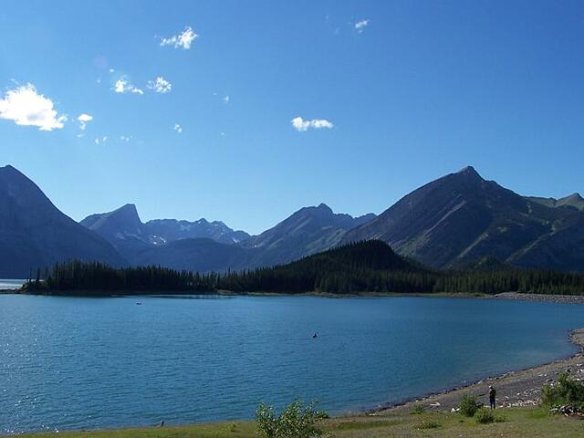 Upper Kananaskis Lakes with Rocky Mountains in background