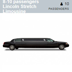 Black Lincoln Stretch Limousine (8-10 Passengers)